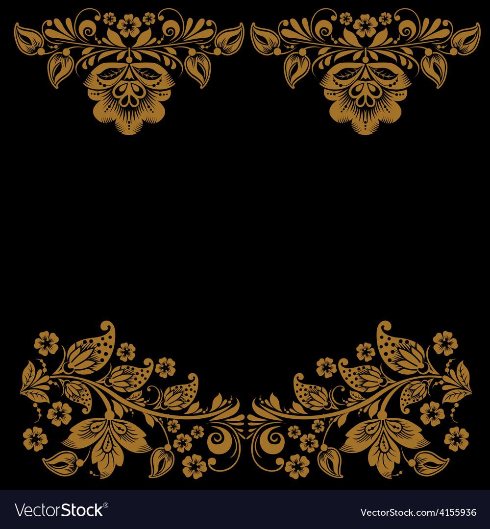 Elegant decorative khokhloma postcard frame vector | Price: 1 Credit (USD $1)