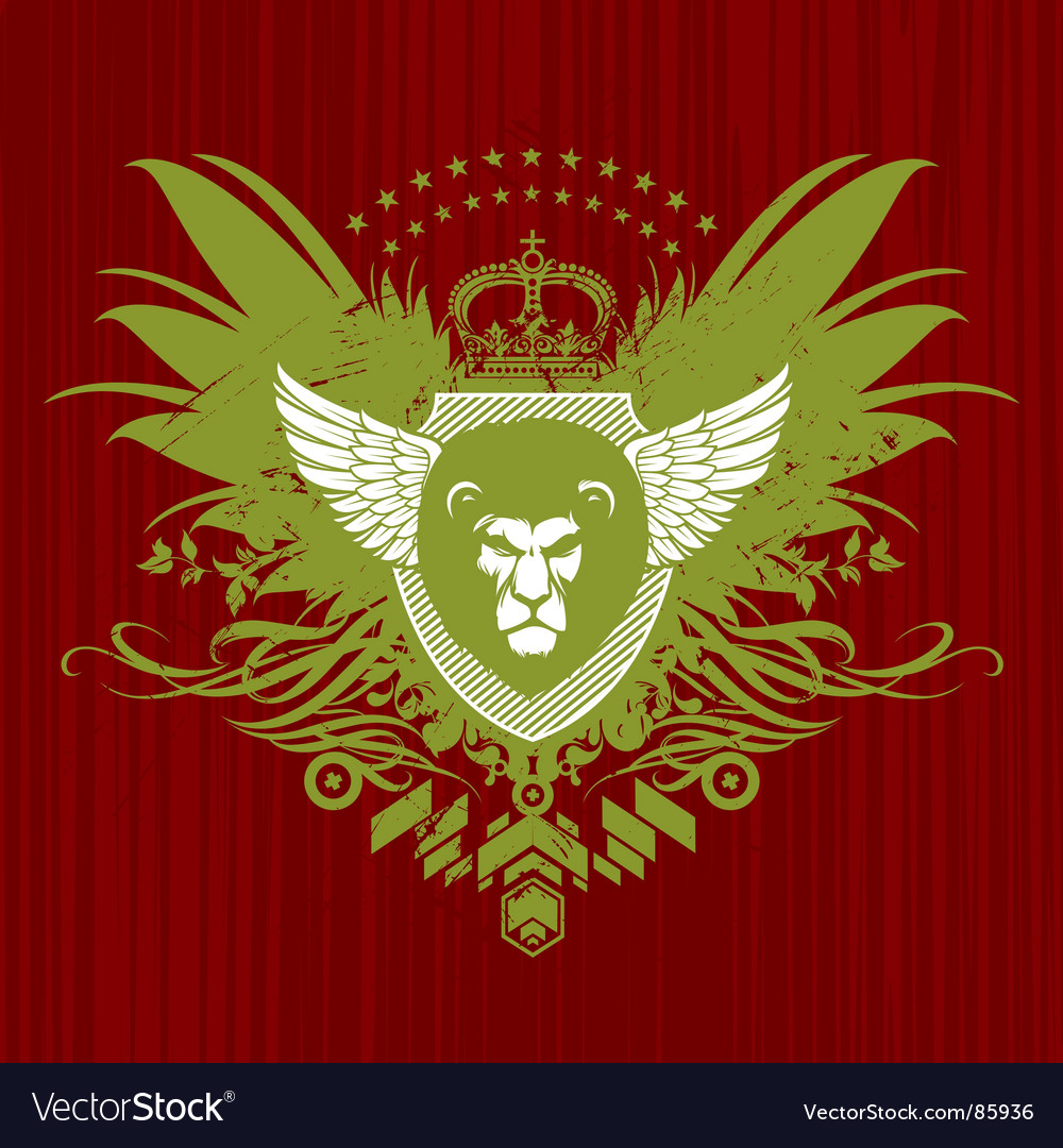 Heraldry with lion head vector | Price: 1 Credit (USD $1)