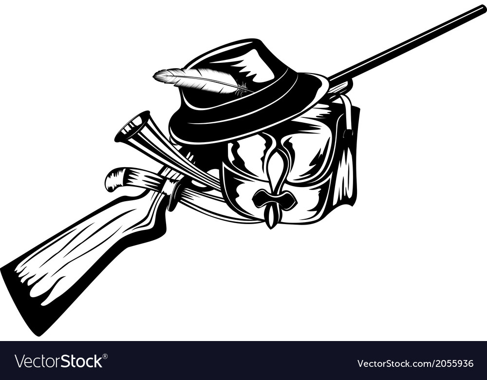 Hunting bag rifle and hat vector | Price: 1 Credit (USD $1)