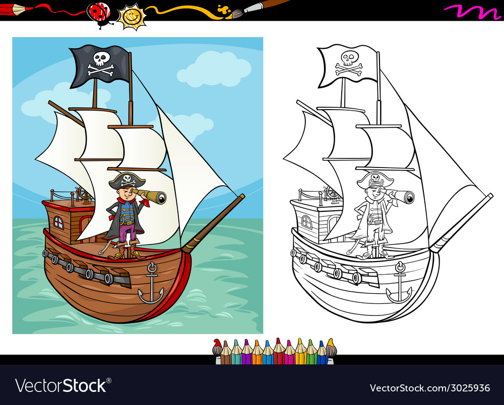 Pirate on ship cartoon coloring book vector | Price: 1 Credit (USD $1)