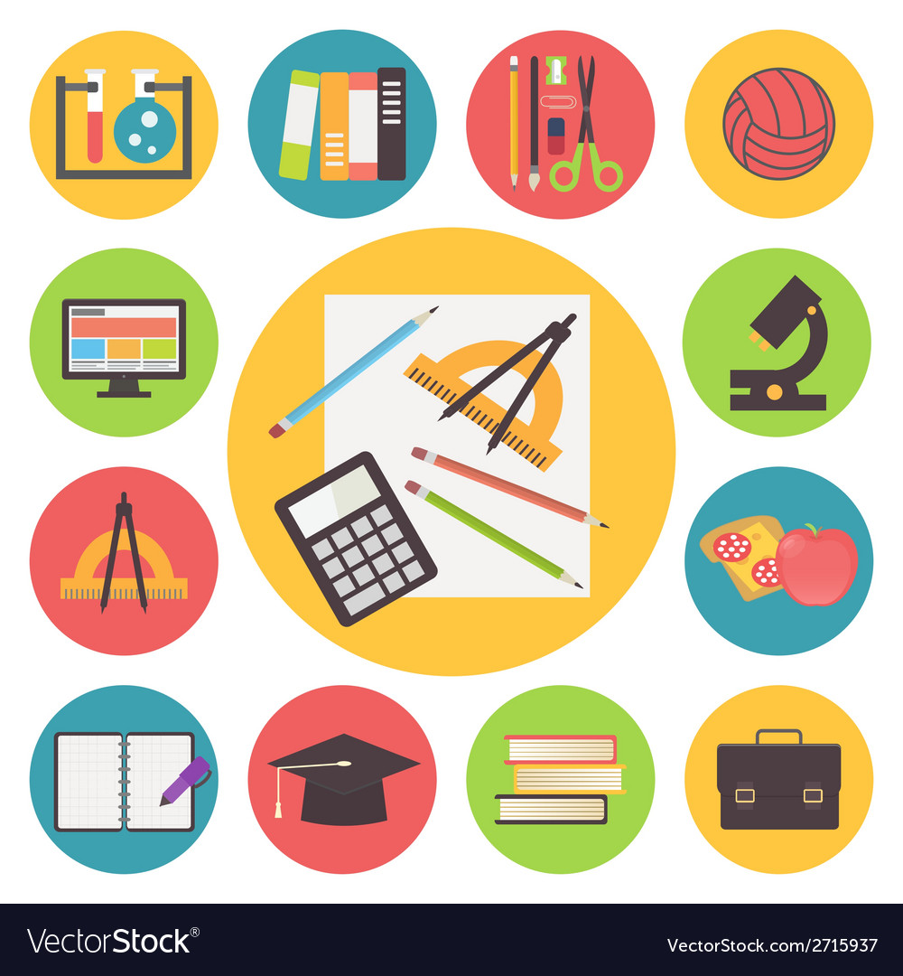 Back to school icons set flat design vector | Price: 1 Credit (USD $1)