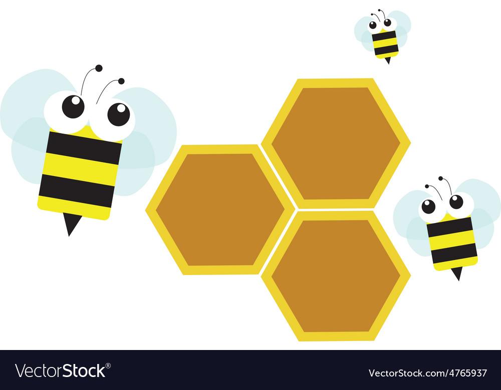Bee on honeycomb vector | Price: 1 Credit (USD $1)