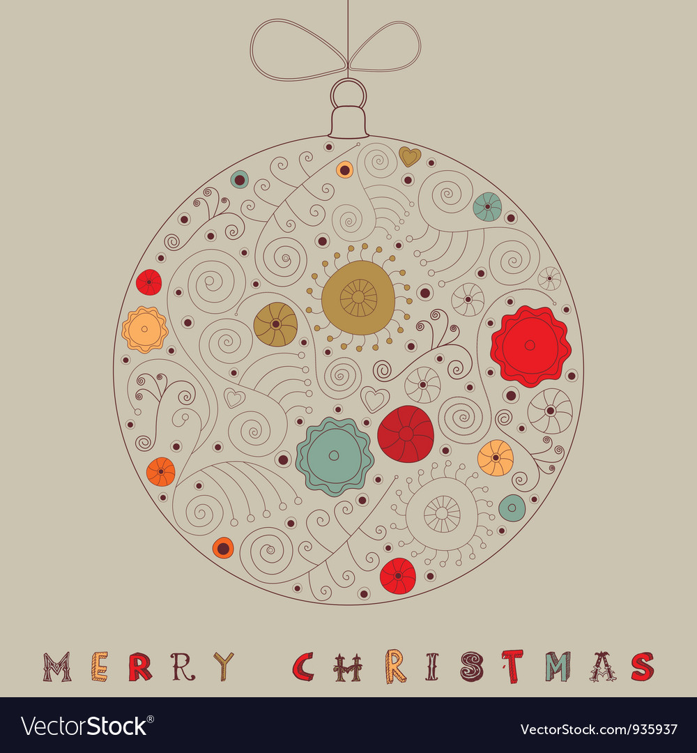 Christmas patterned bauble card vector | Price: 1 Credit (USD $1)