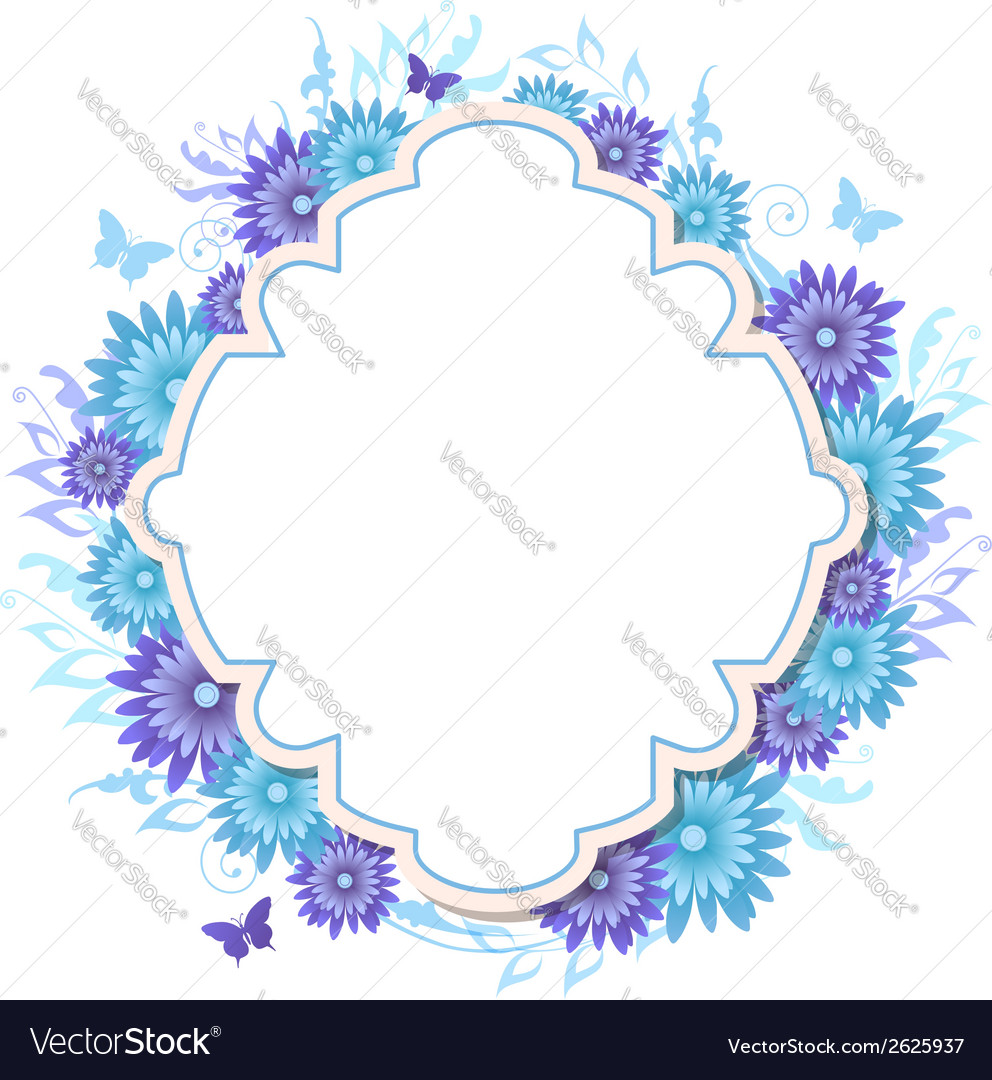 Decorative background with blue flowers vector | Price: 1 Credit (USD $1)