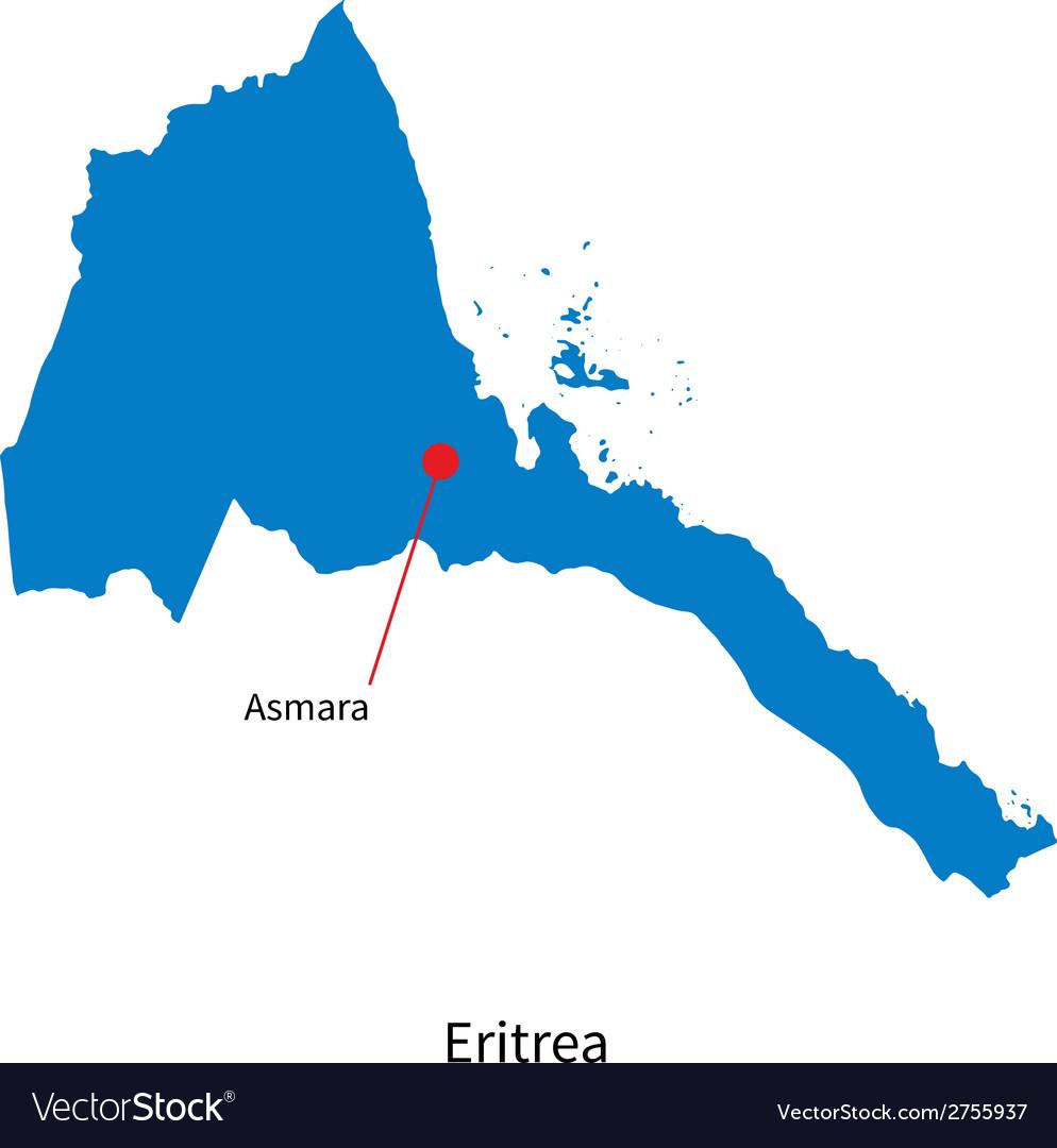 Detailed map of eritrea and capital city asmara vector | Price: 1 Credit (USD $1)