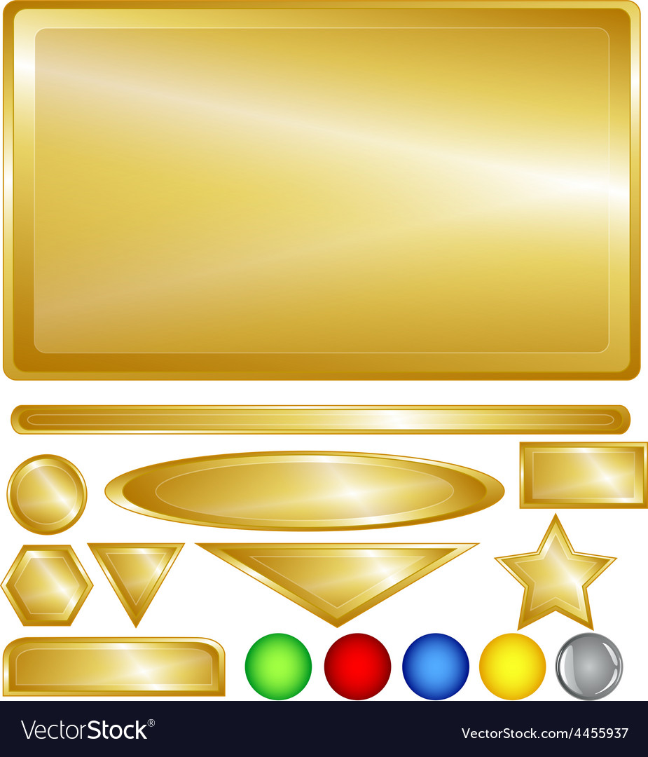 Gold web buttons and bars vector | Price: 1 Credit (USD $1)