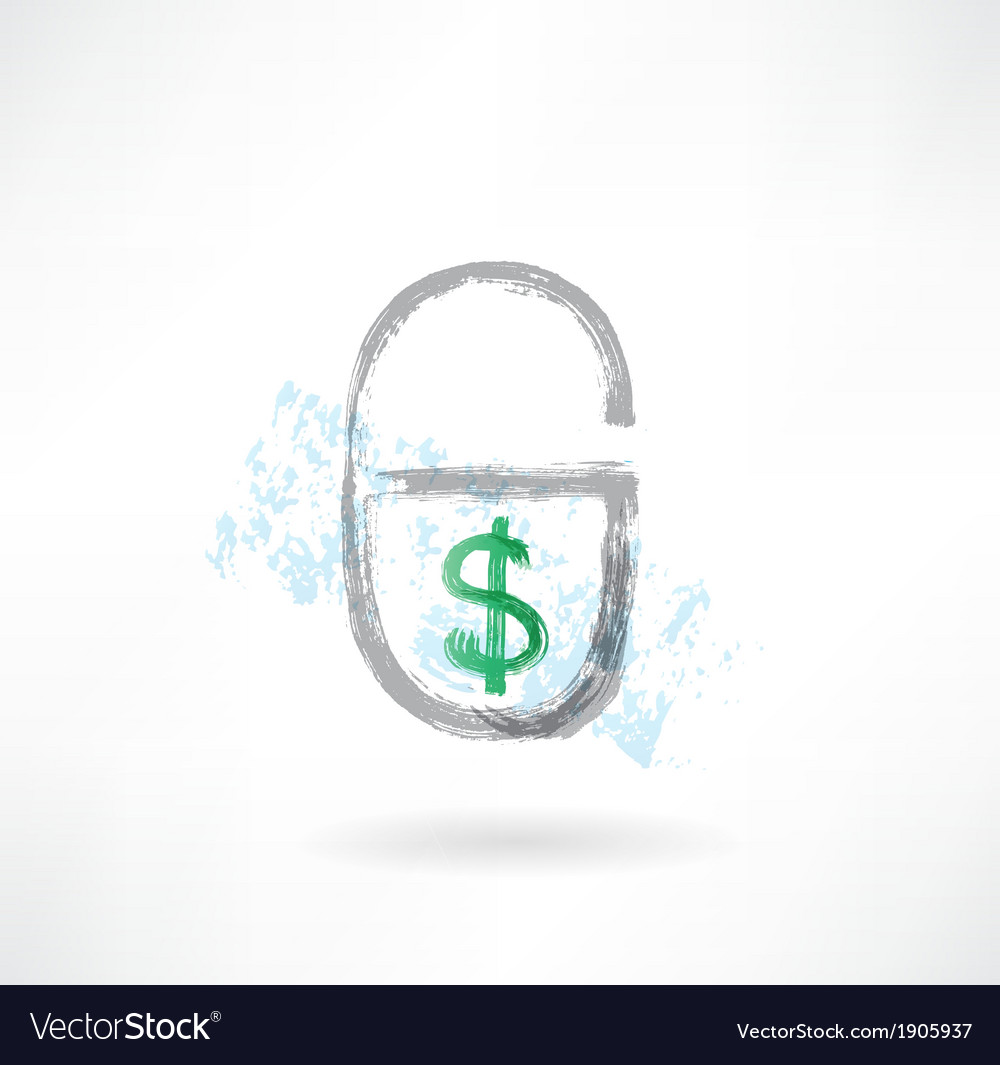 Lock money grunge icon vector | Price: 1 Credit (USD $1)
