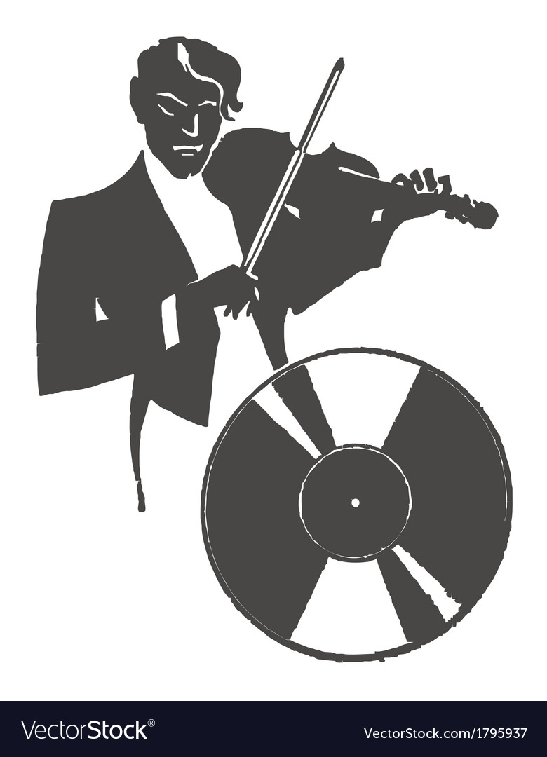 Male violinist playing the violin vector | Price: 1 Credit (USD $1)