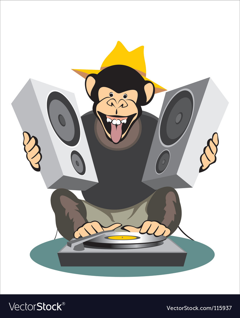 Monkey dj vector | Price: 1 Credit (USD $1)