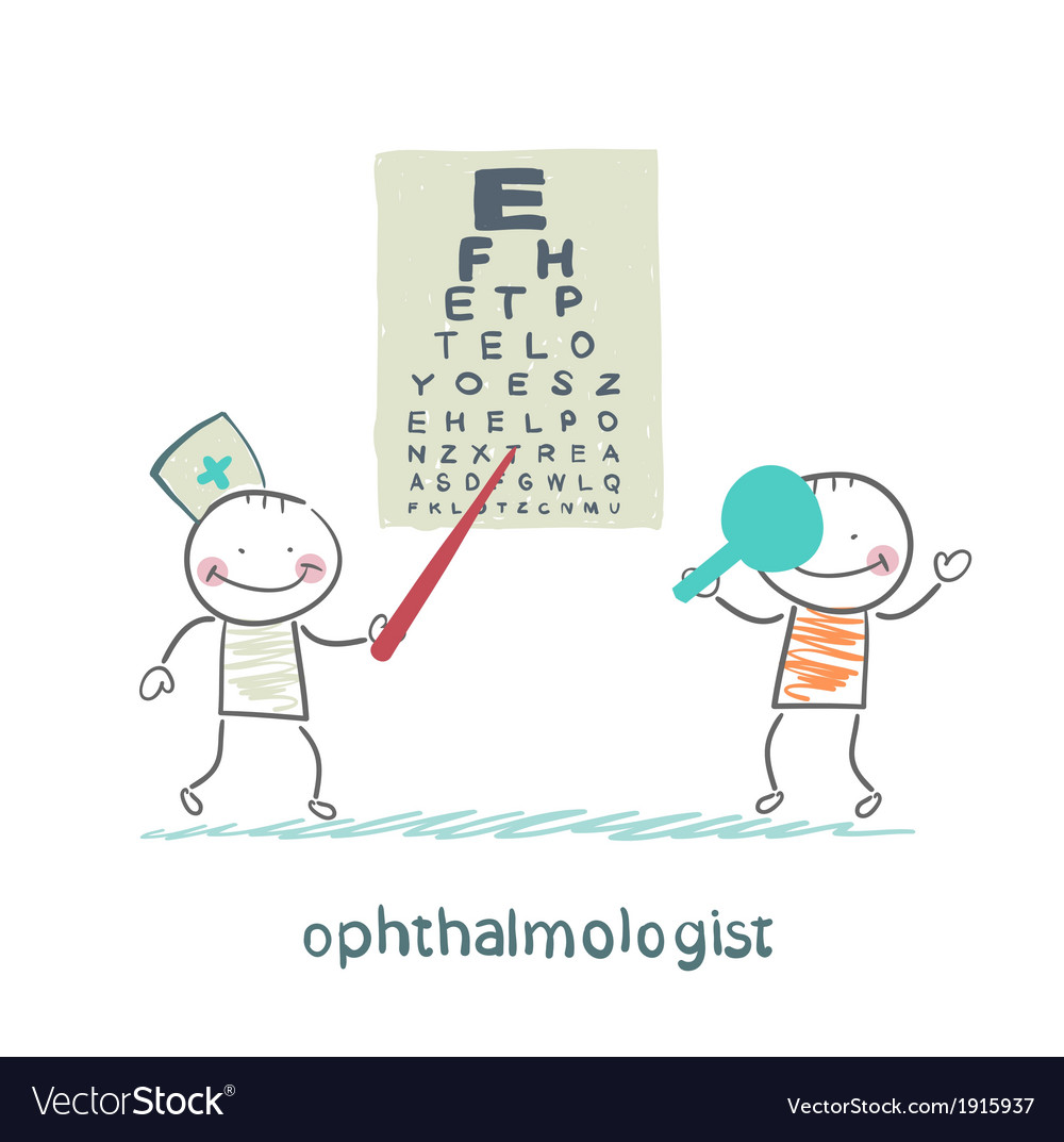Ophthalmologist checks sight of the patient with vector | Price: 1 Credit (USD $1)