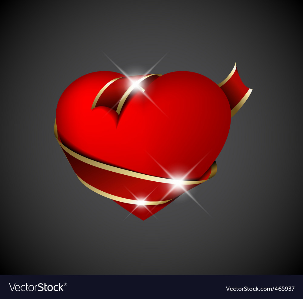 Red heart with red ribbon vector | Price: 1 Credit (USD $1)