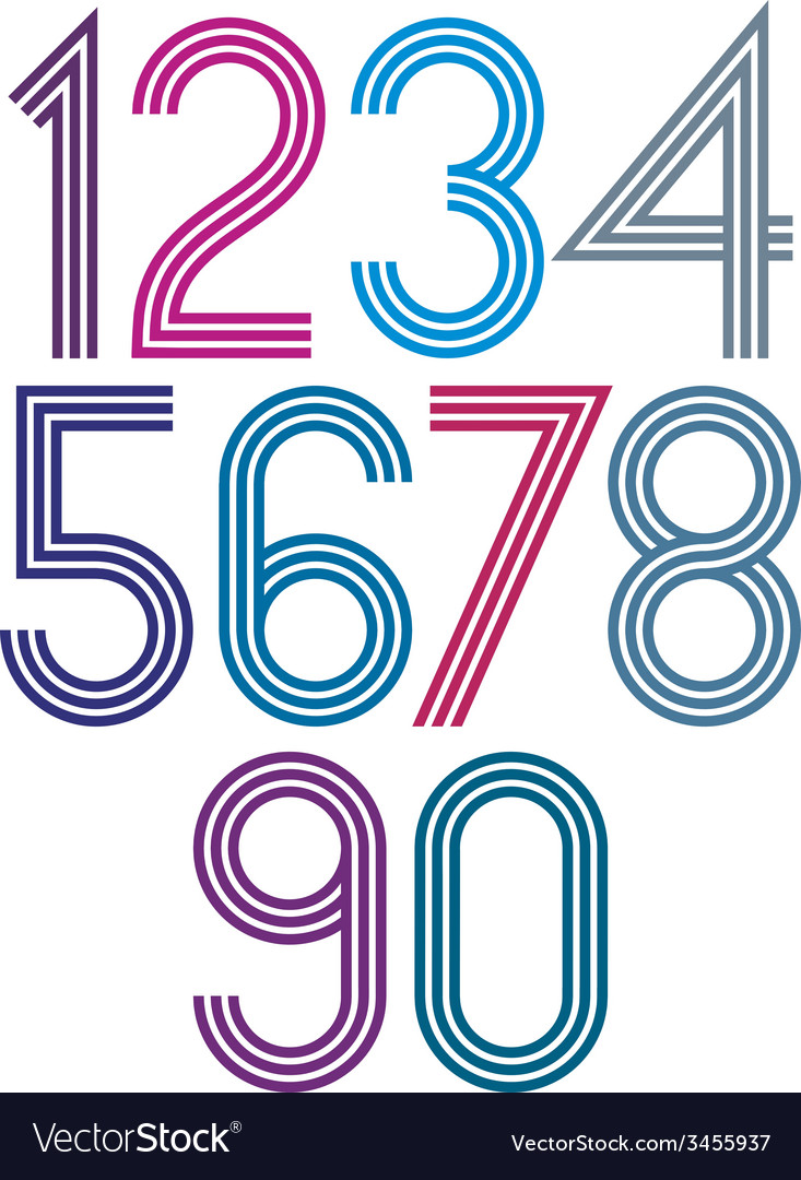 Rounded big colorful numbers with triple stripes vector | Price: 1 Credit (USD $1)