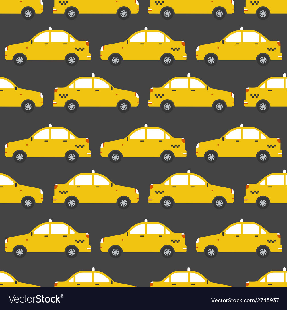 Seamless pattern of yellow taxi car flat design vector | Price: 1 Credit (USD $1)