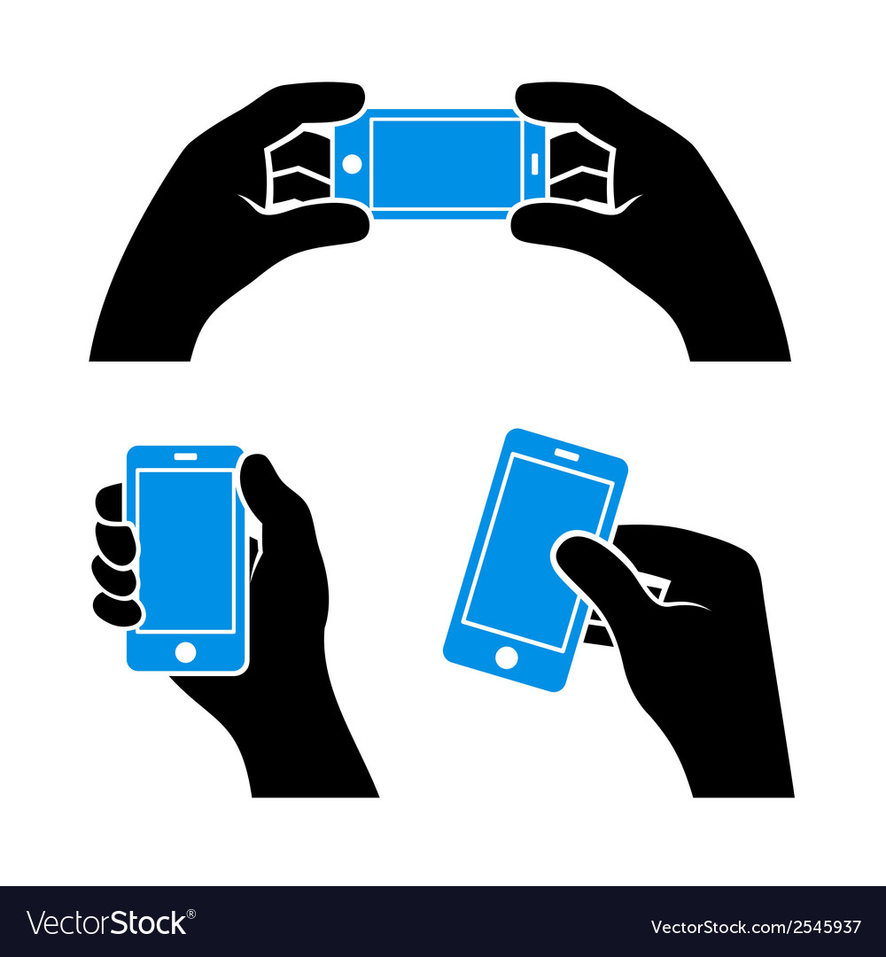 Set of hands holding smart phone vector | Price: 1 Credit (USD $1)