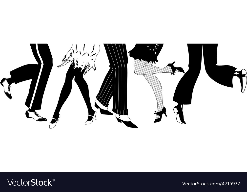 Silhouette of the charleston dancers legs vector | Price: 1 Credit (USD $1)