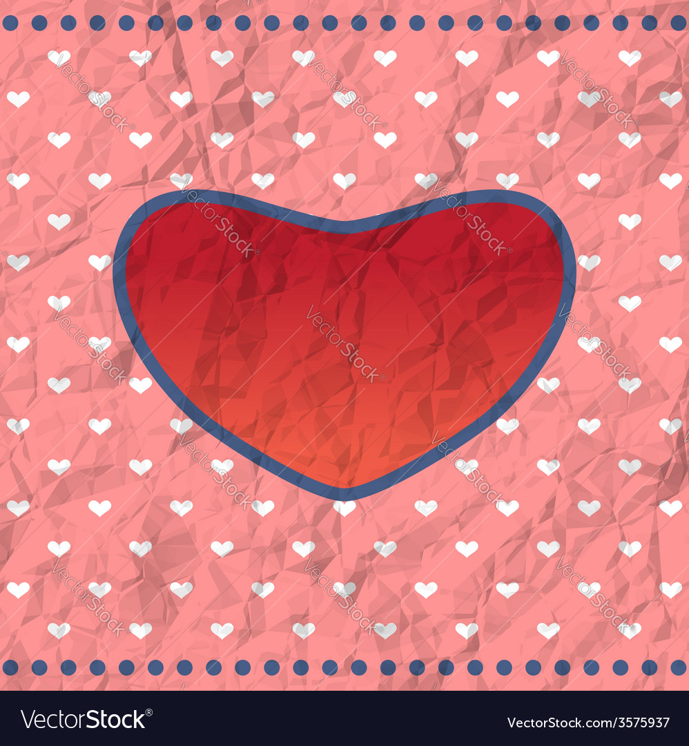 Vintage crumpled heart frame vector | Price: 1 Credit (USD $1)