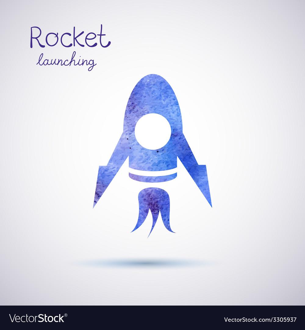 Watercolor rocket icon vector   Price: 1 Credit (USD $1)