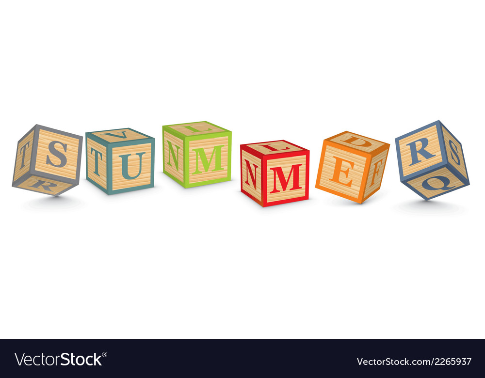 Word summer written with alphabet blocks vector | Price: 1 Credit (USD $1)