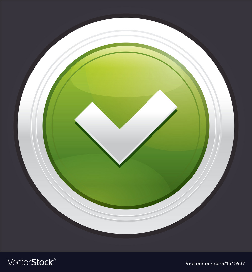 Yes button ok icon green sticker vector | Price: 1 Credit (USD $1)