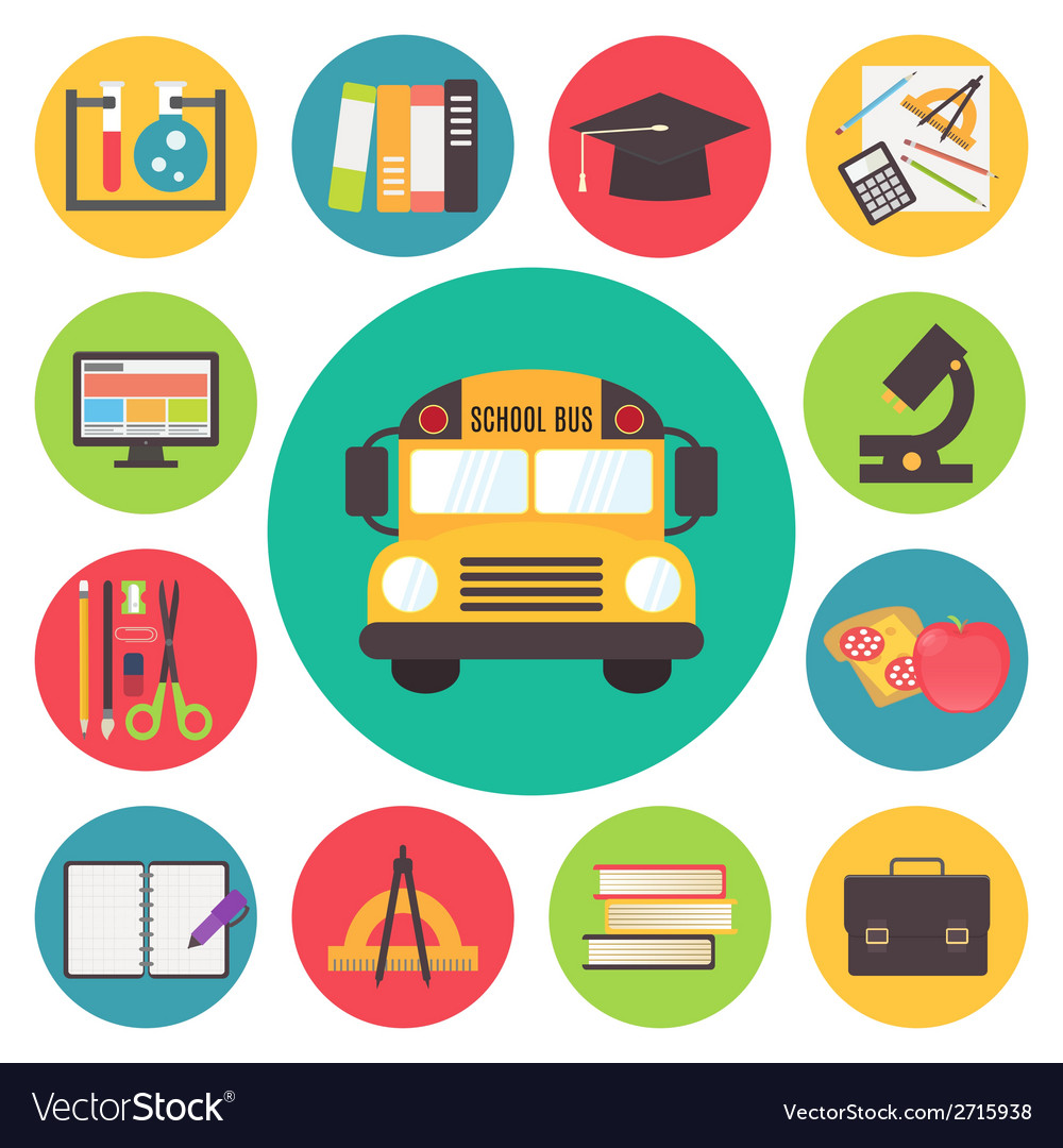 Back to school bus and supplies icons set flat vector | Price: 1 Credit (USD $1)