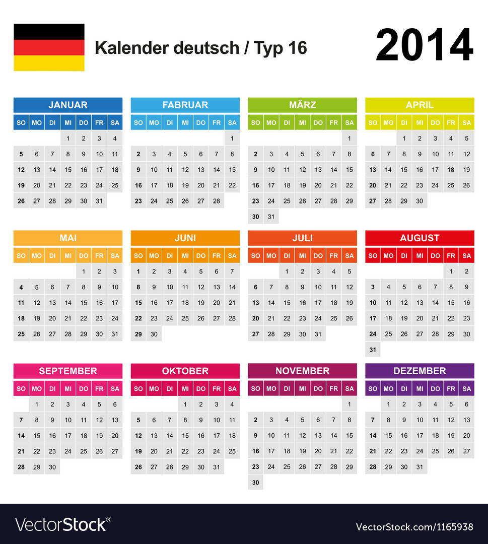 Calendar 2014 german type 16 vector | Price: 1 Credit (USD $1)