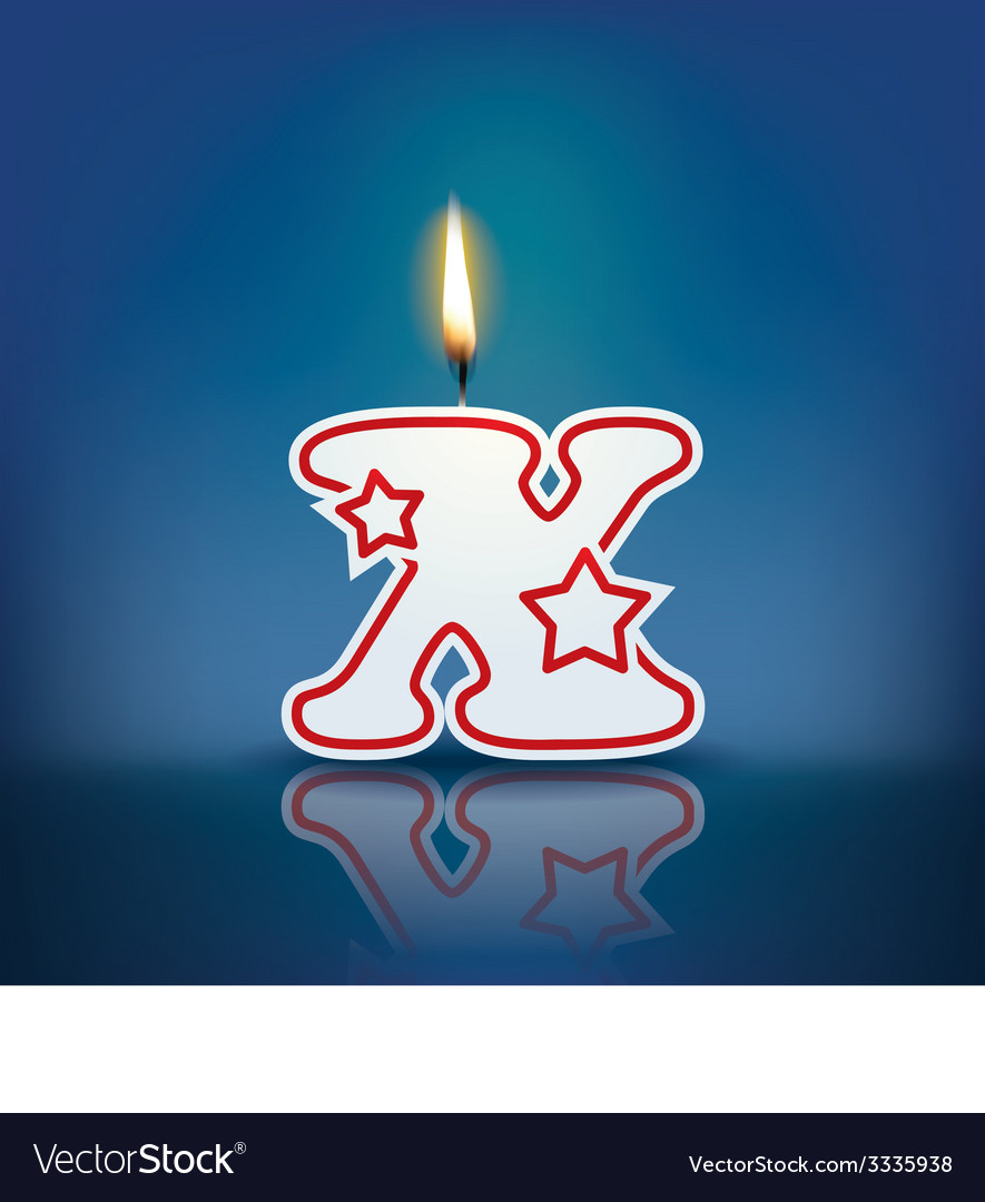 Candle letter x with flame vector | Price: 1 Credit (USD $1)
