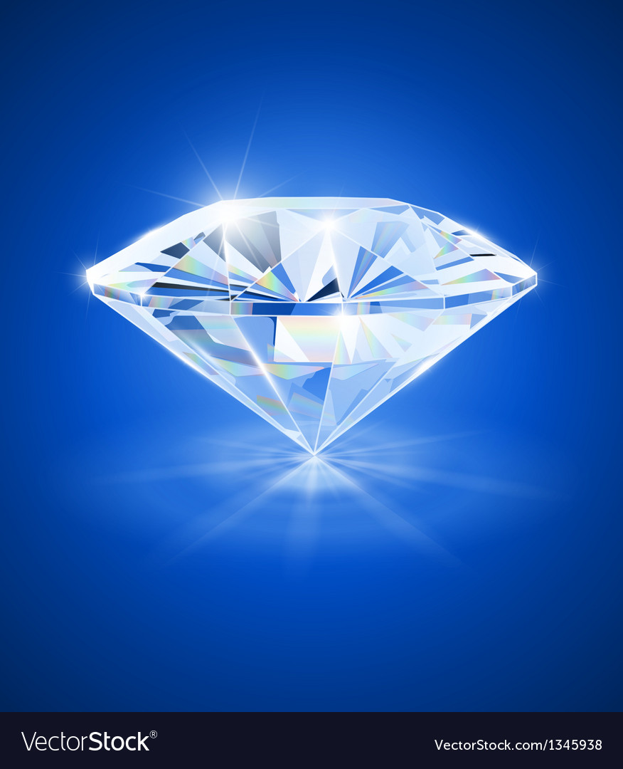 Diamond on blue background vector | Price: 1 Credit (USD $1)
