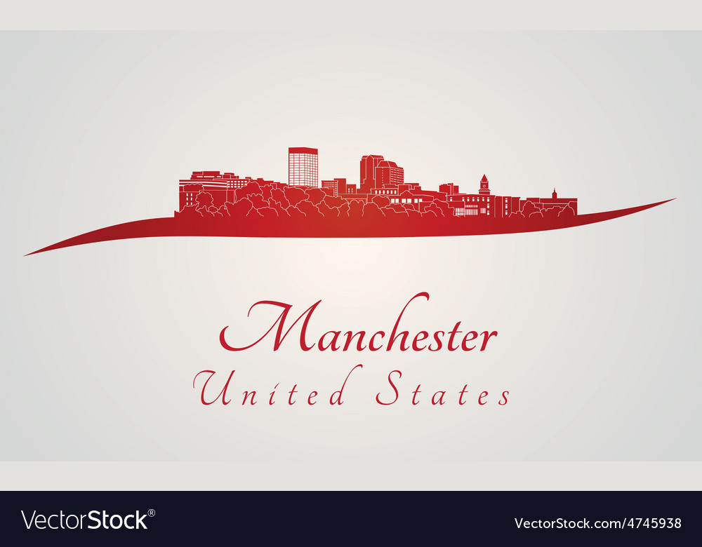 Manchester skyline in red and gray background in vector | Price: 1 Credit (USD $1)