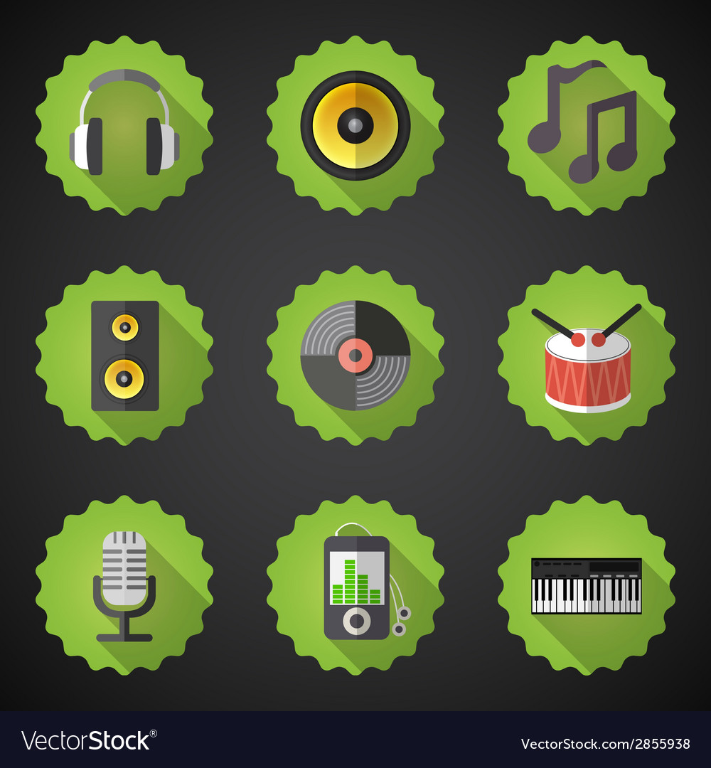 Music flat icon set include speaker mic vinyl mp3 vector | Price: 1 Credit (USD $1)
