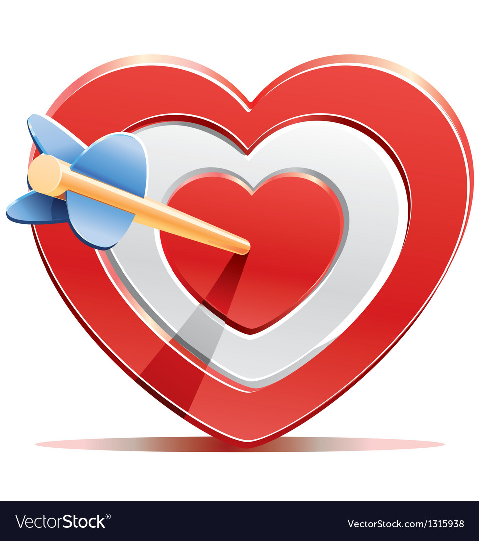 Red heart target aim with arrow vector | Price: 3 Credit (USD $3)