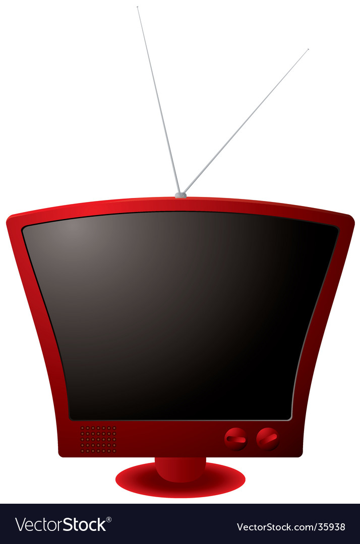 Retro red tv vector | Price: 1 Credit (USD $1)