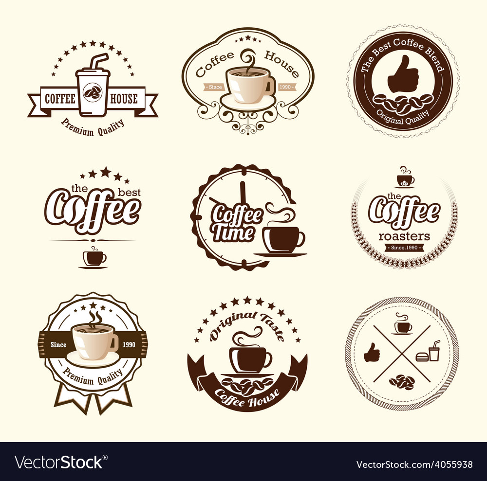 Set of vintage retro coffee badges and labels vector | Price: 3 Credit (USD $3)