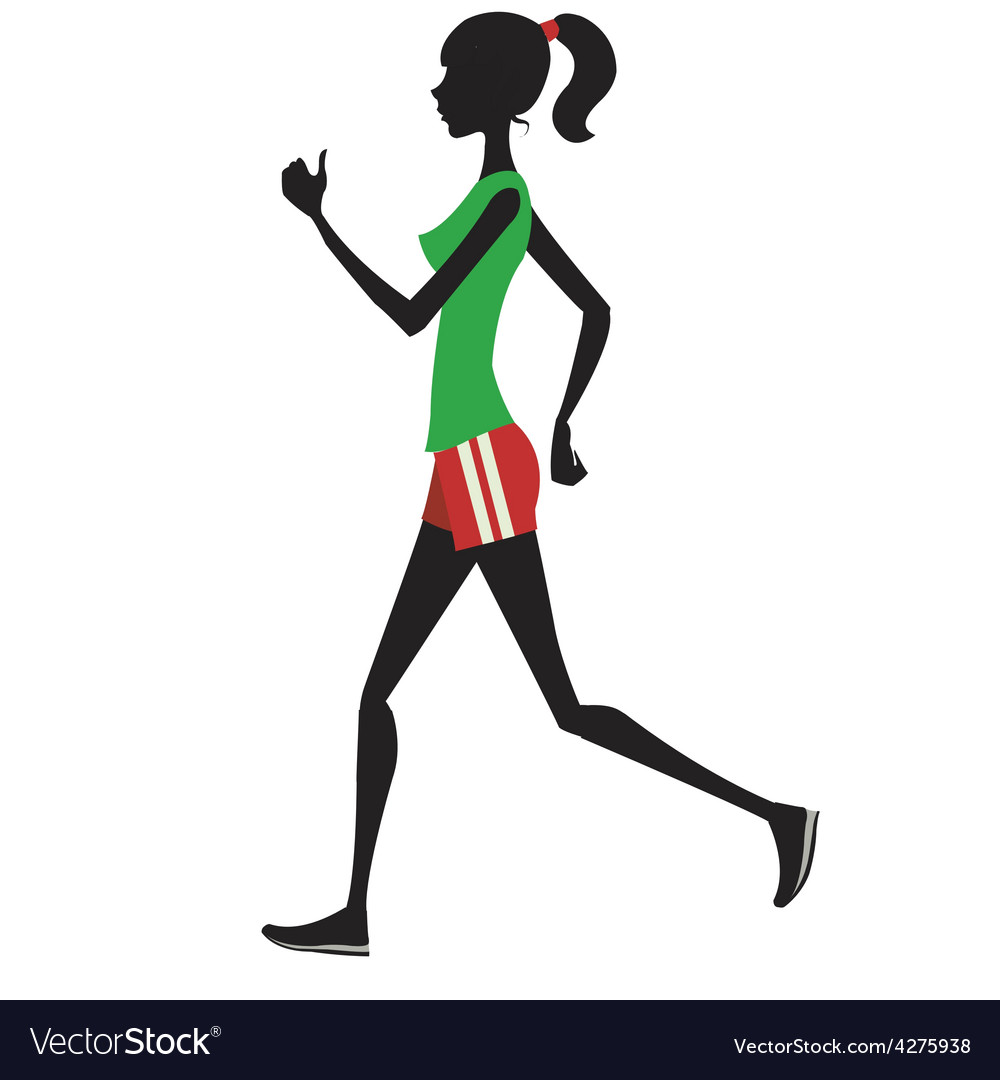 Slim girl runs silhouette vector | Price: 1 Credit (USD $1)