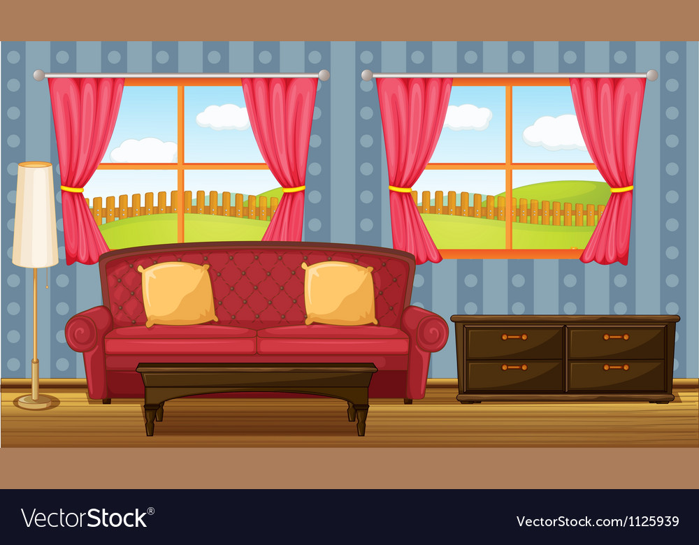A red sofa and side table vector | Price: 1 Credit (USD $1)