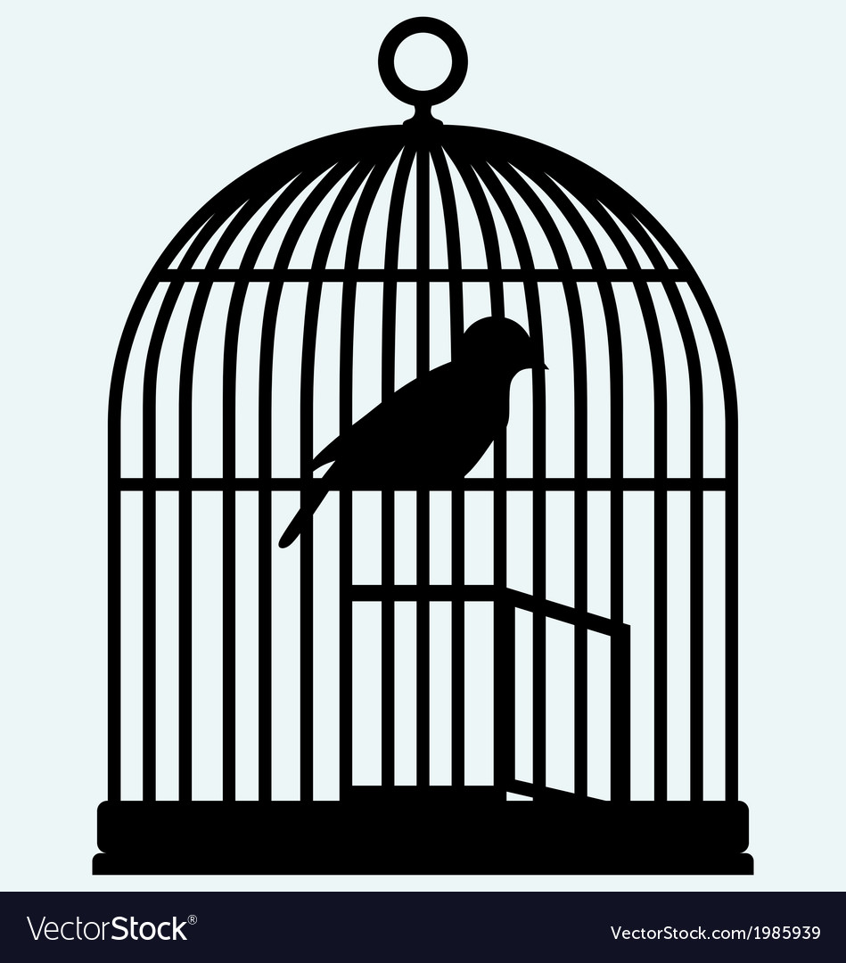 An open birdcage and bird vector | Price: 1 Credit (USD $1)