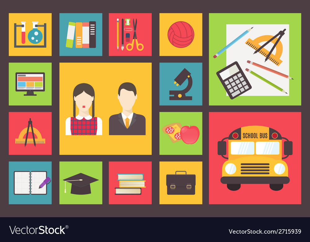 Back to school bus and equipment icons set flat vector   Price: 1 Credit (USD $1)