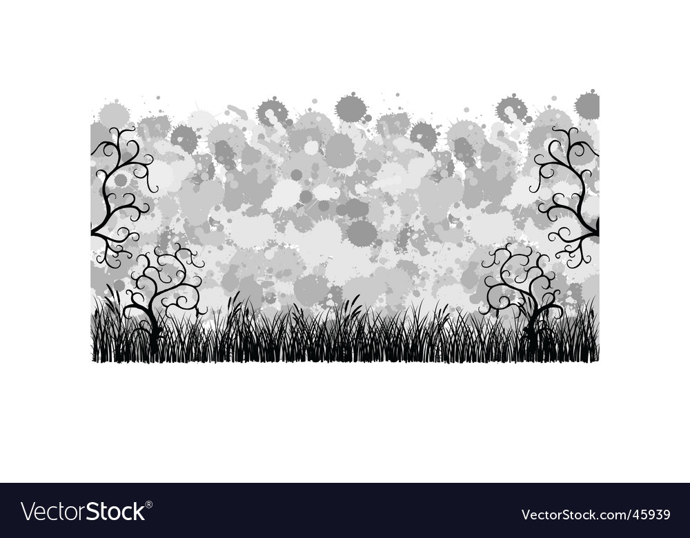 Banner with grass and ornaments vector | Price: 1 Credit (USD $1)