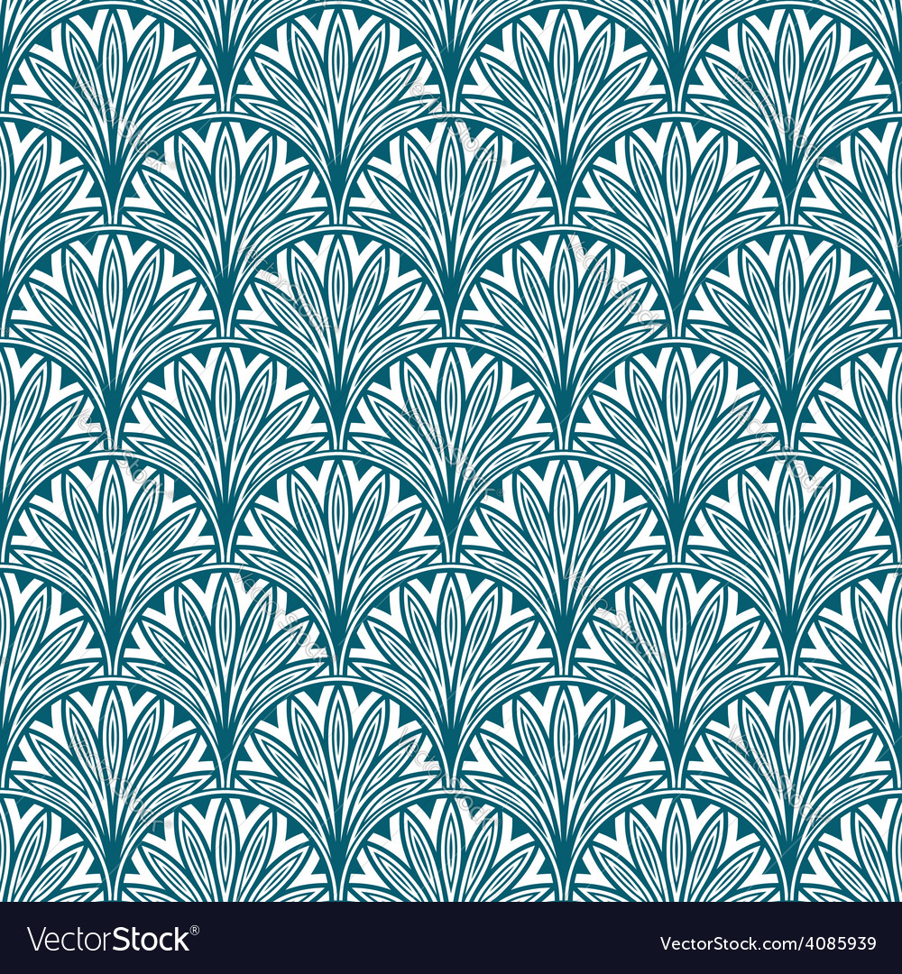 Blue repeating geometric floral pattern vector | Price: 1 Credit (USD $1)