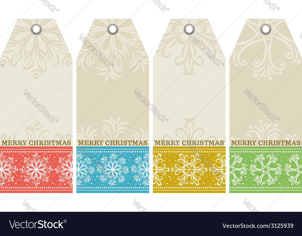 Christmas labels with snowflakes and wishes text vector | Price: 1 Credit (USD $1)