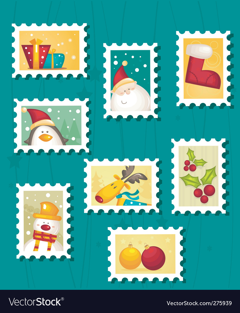Christmas stamps vector | Price: 1 Credit (USD $1)