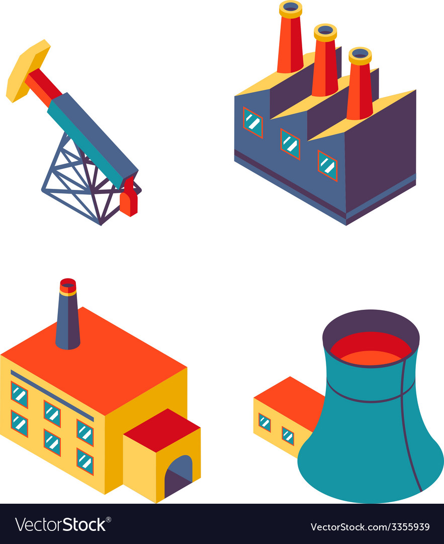 Flat isometric factory icons vector | Price: 1 Credit (USD $1)