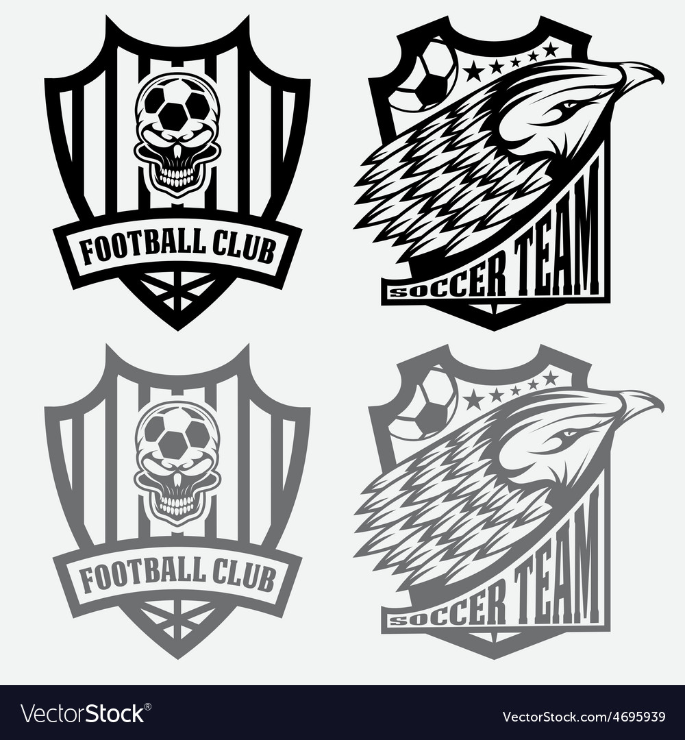 Football team crest set with eagle and skull vector | Price: 1 Credit (USD $1)