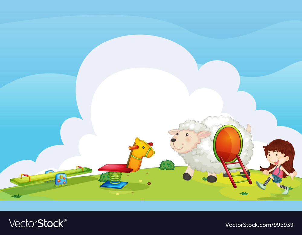 Girl playing in garden vector | Price: 3 Credit (USD $3)