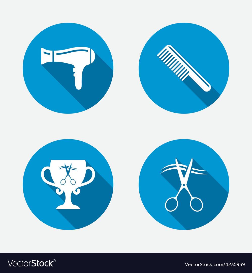 Hairdresser icons scissors cut hair symbol vector   Price: 1 Credit (USD $1)
