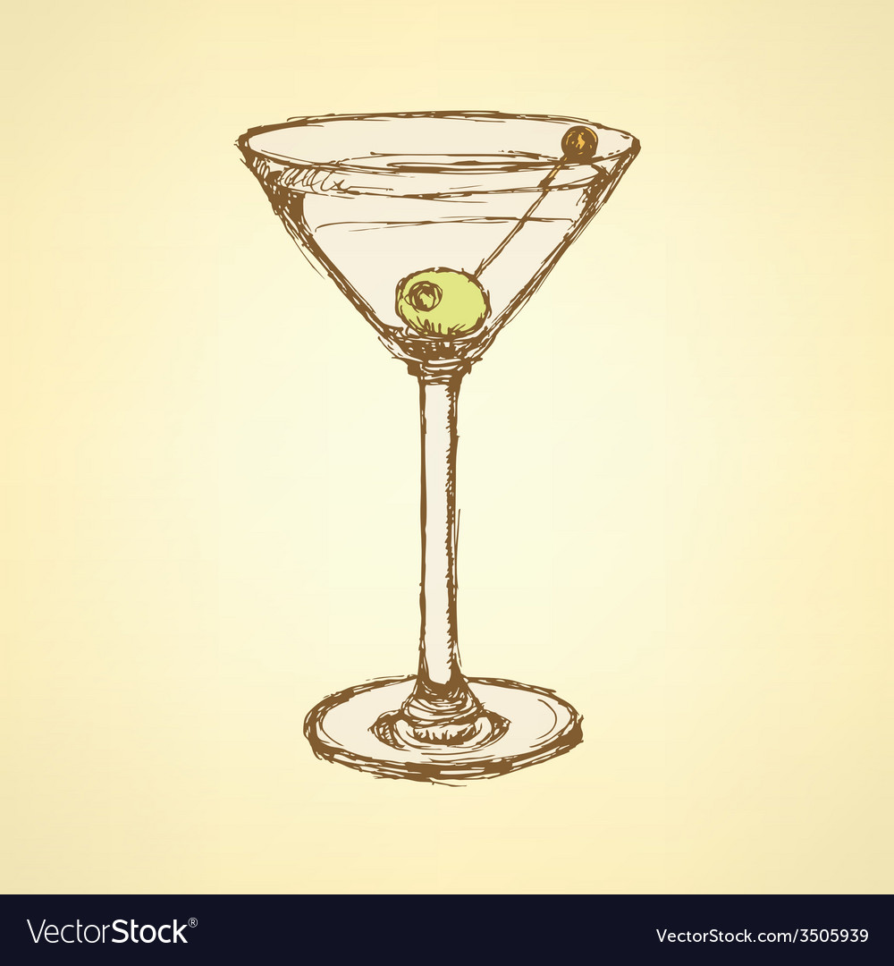 Sketch martini glass with olive vector   Price: 1 Credit (USD $1)