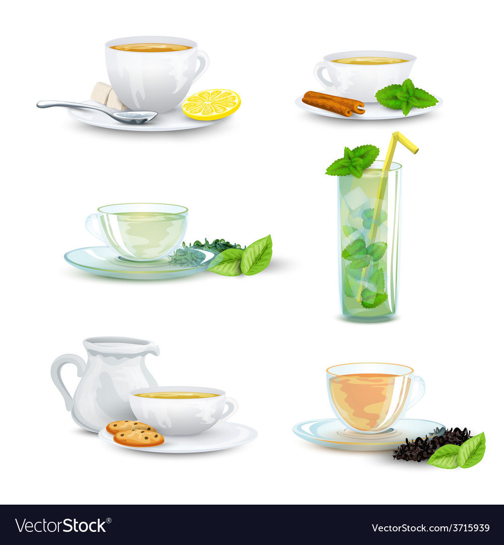Tea icon set vector | Price: 1 Credit (USD $1)