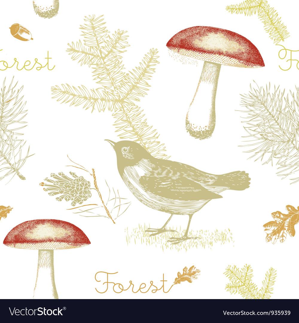 Vintage birds forest pattern background vector | Price: 1 Credit (USD $1)