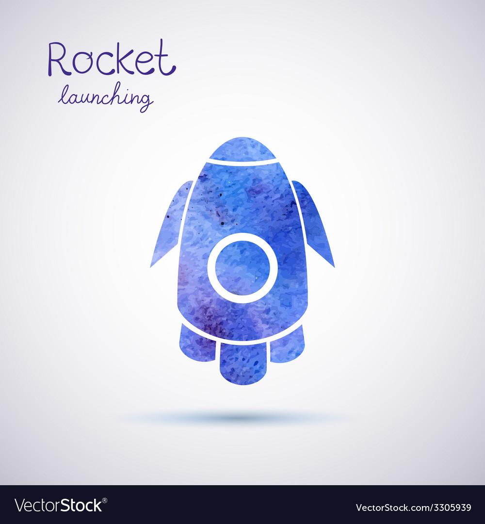 Watercolor rocket icon vector | Price: 1 Credit (USD $1)