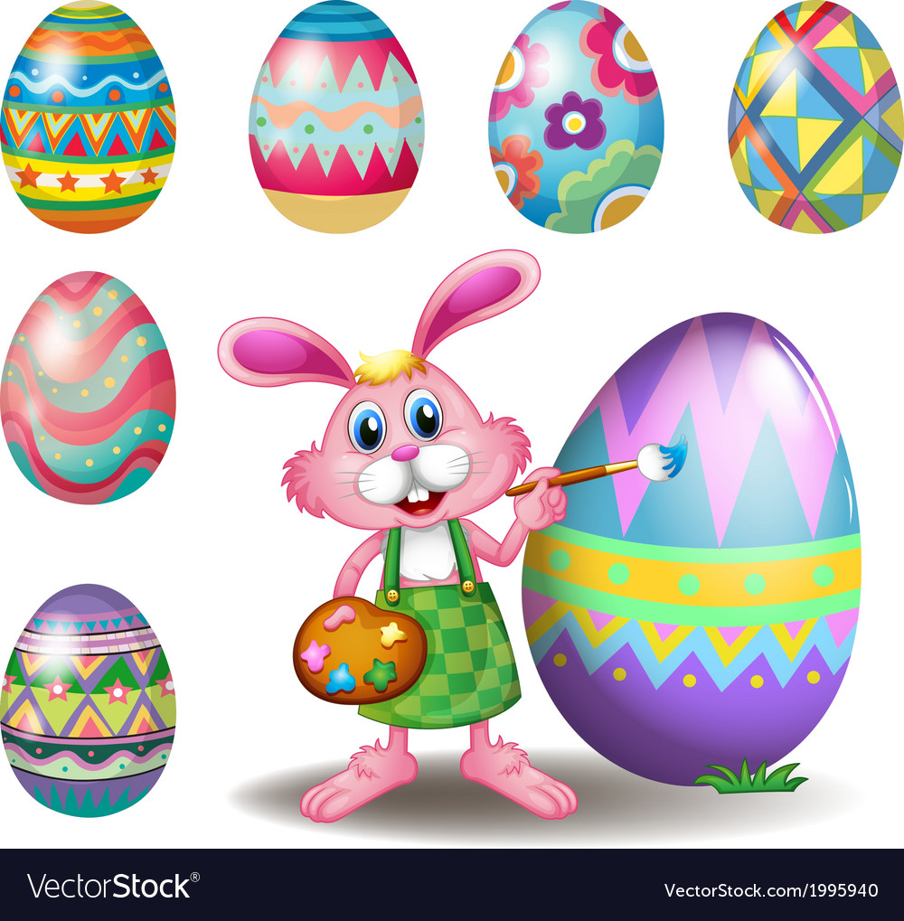 A bunny painting the eggs vector | Price: 3 Credit (USD $3)