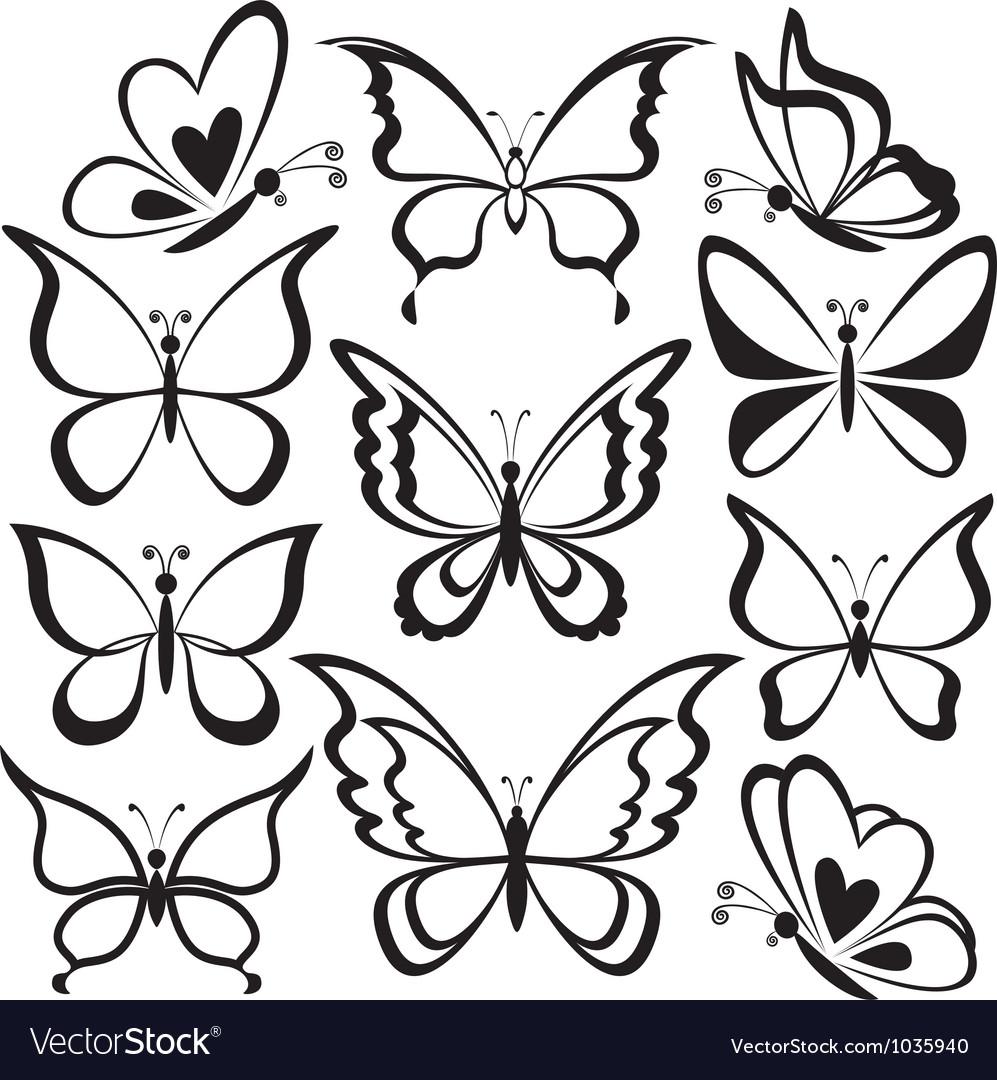 Butterflies black contours vector | Price: 1 Credit (USD $1)
